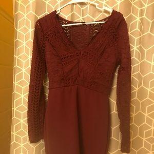 Long lace sleeve maroon formal dress